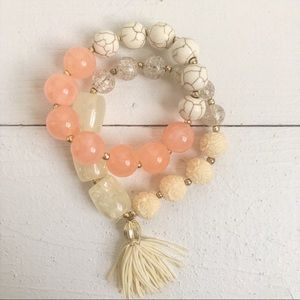 Anthropologie Mala Bead Bracelets Yoga Coral